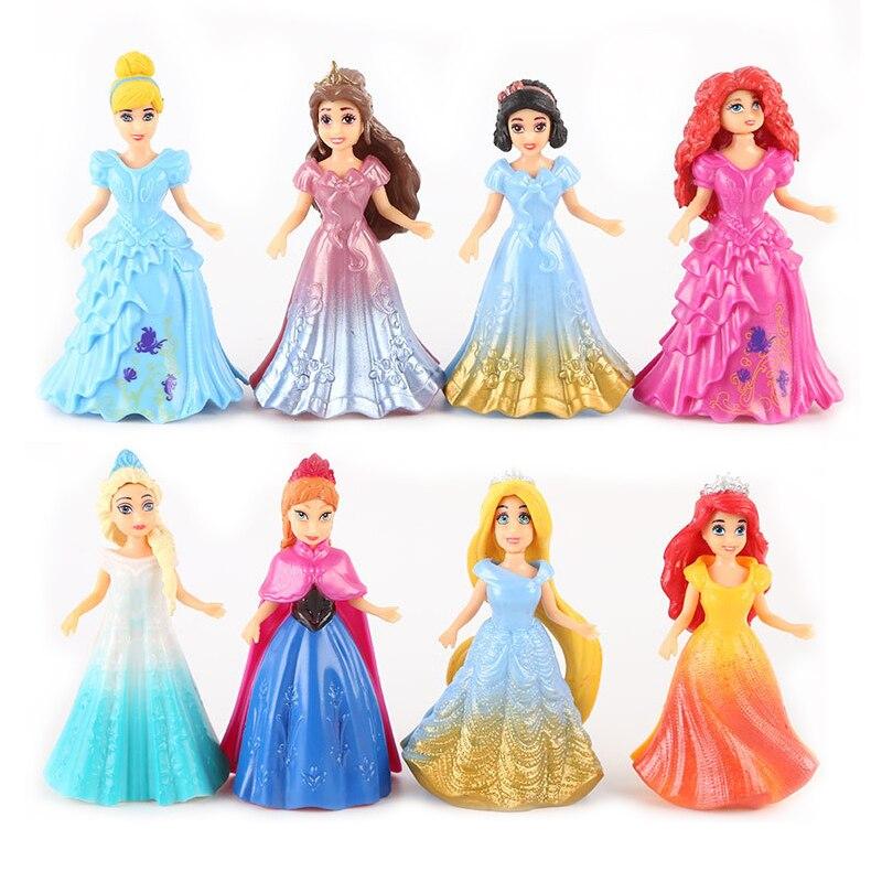 8 pcs/ensemble Princesse Elsa Anna Neige Blanc Aurora Belle Cendrillon PVC Action Figure Jouets Habiller Poupée Modèle Cadeau # E