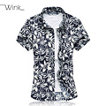 Men Floral Dress Shirt Luxury Stretchy Cotton Blouse Short Sleeve Camisa Social Blusas Slim Fit Big Size 7XL Summer Clothes S071