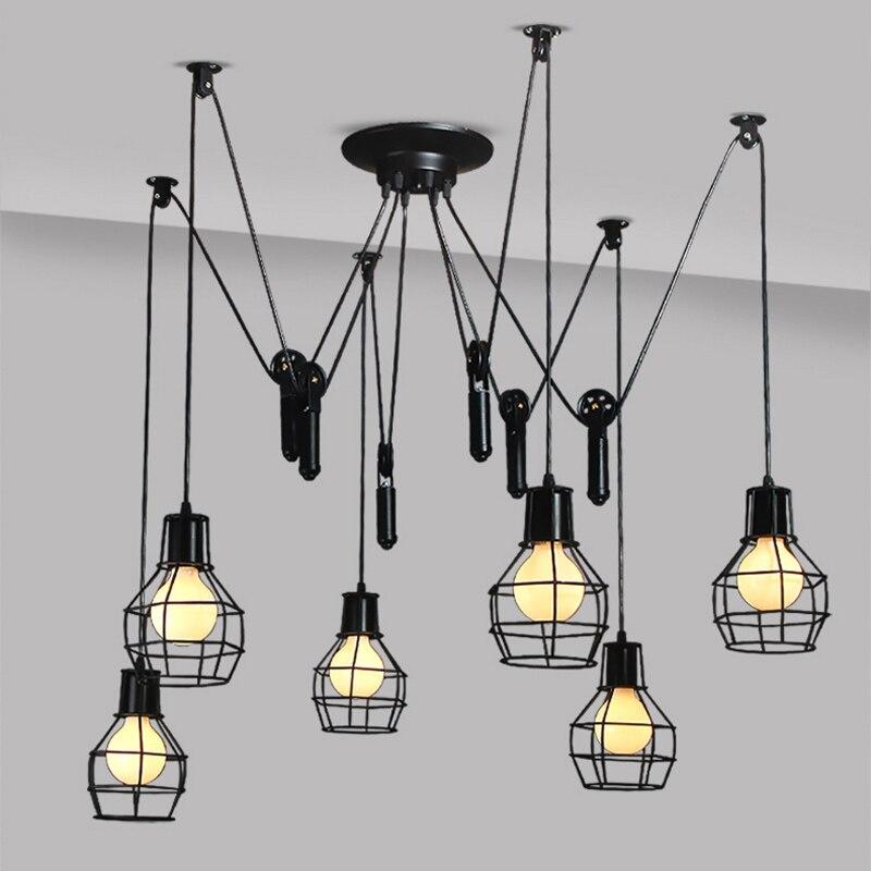 retro spider chandelier ceiling Mordern Nordic Retro Edison Bulb Light Chandelier Vintage Loft Antique Adjustable lamps edison