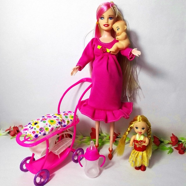children toys play house item new sets nursery baby carriage barbie doll furniture trolley for