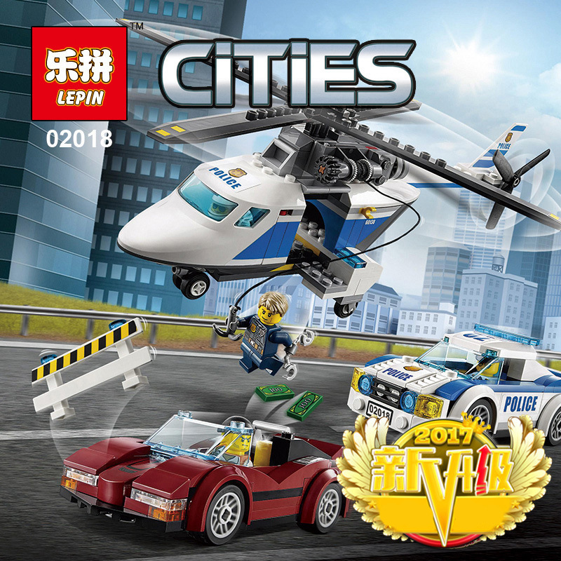 LEPIN 02018 City Police Military Series Educational Children Building Blocks High-Speed Chase Helicopter Pursuit Car Boy Gifts city series police car motorcycle building blocks policeman models toys for children boy gifts compatible with legoeinglys 26014