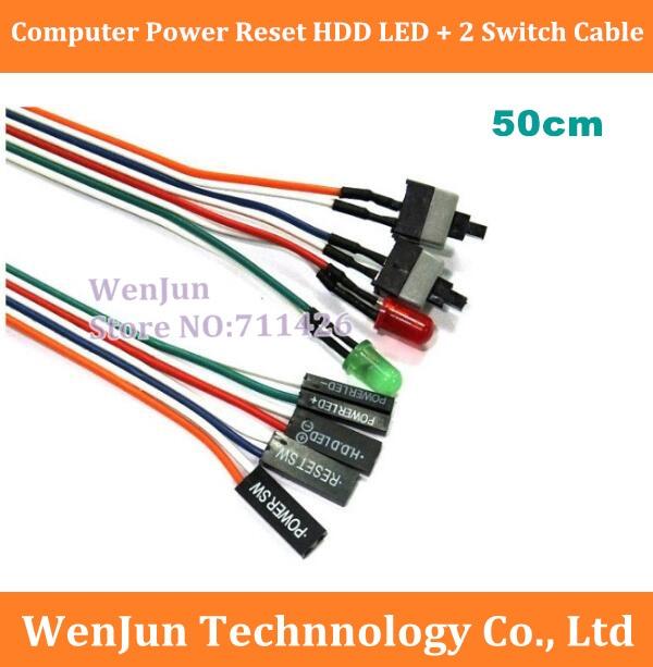 DHL/Fedex משלוח חינם 300 יח\חבילה איפוס מחשב מחשב כוח מקרה HDD LED + 2 החלף כבל מתאם