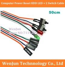 DHL/Fedex livraison gratuite 300 pcs/lot PC coque dordinateur réinitialisation de puissance HDD LED + 2 commutateur câble connecteur adaptateur