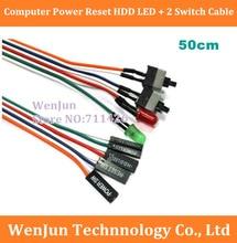 Dhl/フェデックス送料無料300ピース/ロットpcコンピュータケース電源リセットhdd led + 2スイッチケーブルコネクタアダプタ