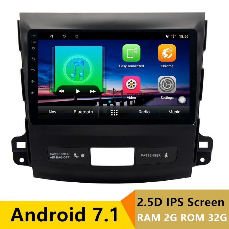 9 2 + 32g 2.5D IPS Android 7.1 DVD de Voiture Lecteur Multimédia GPS pour Mitsubishi Outlander 2006- 2012/Peugeot 4007 radio navigation