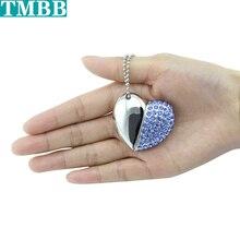 Металлическое ожерелье с сердечком и кристаллами 128G usb флеш-накопители флешки u диск 4 ГБ 8 ГБ 16 ГБ 32 ГБ 64 Гб usb креативная карта памяти
