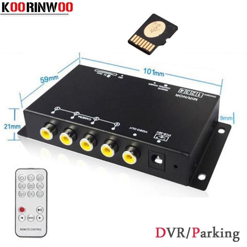 Koorinwoo enregistreur DVR de voiture 9-36 V/aide au stationnement boîte de combinaison de commutateur vidéo 360 degrés gauche/droite/avant/caméra de vue arrière