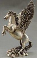 グッズ装飾オールド手仕事チベットシルバー彫刻ビッグ馬フライング像 -