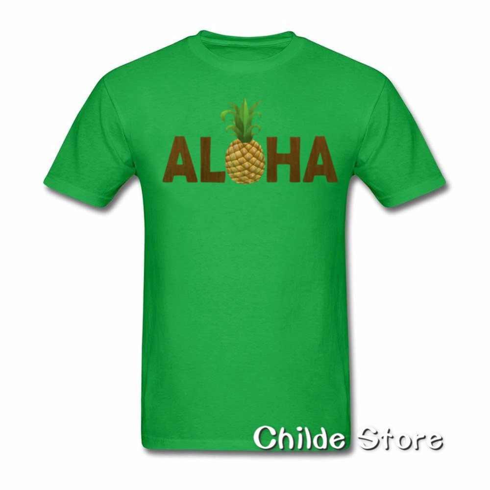 Гавайский Алоха, Ананас печатных футболки для Для мужчин с круглым вырезом короткий рукав Футболка Homme Повседневная футболка 2018 летние мужские топы