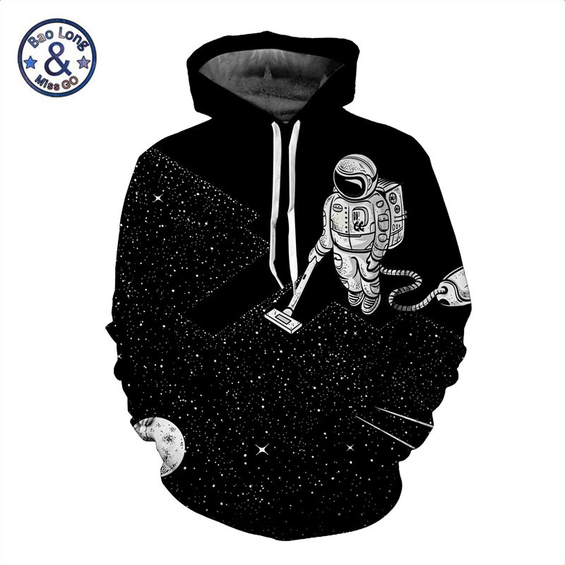 Men Galaxy Outer Space Astronaut Hoodie Sweatshirt Fashion 3D Hoodies Sweat Homme Autumn Winter Coat Streetwear