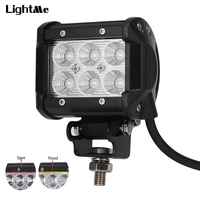 1Pc 18W Work Light Bar 1800lm 6500K Cree LED Car Top Flood Beam Driving Lamp For