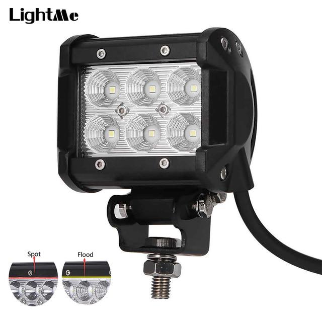 1Pc Car LED Work Light Offroad Lights 18W 6500K Led Chips Flood&Spot Driving Lamp Sportlight for 12v 24v Vehicle SUV ATV