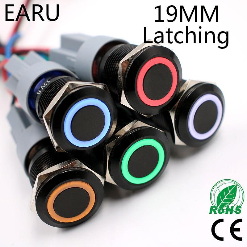 1pc 19mm Power Black Waterproof Latching Self-locking Fix Metal Push Button Switch LED Lamp Light 5V 12V 24V 220V Red Blue Green