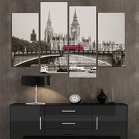 Home Decor Canvas HD Printed Modern Painting 4 Pieces Wall Art Photo London Red Bus Poster