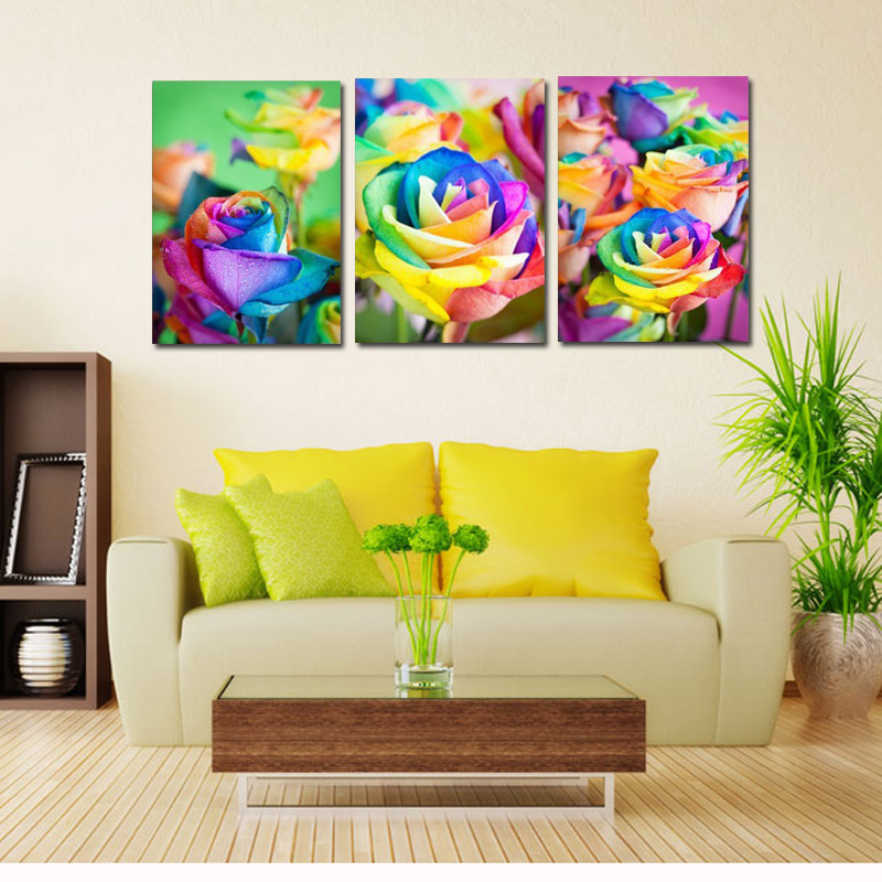3 Panel Wall Art Canvas Prints Color Rose Flower Printed Painting ...