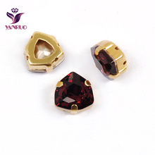 YANRUO 4706 Trilliant Amethyst Fancy Rhinestones Crystal Glass Strass Pointback Stones With Claw Setting Sewing for Garment