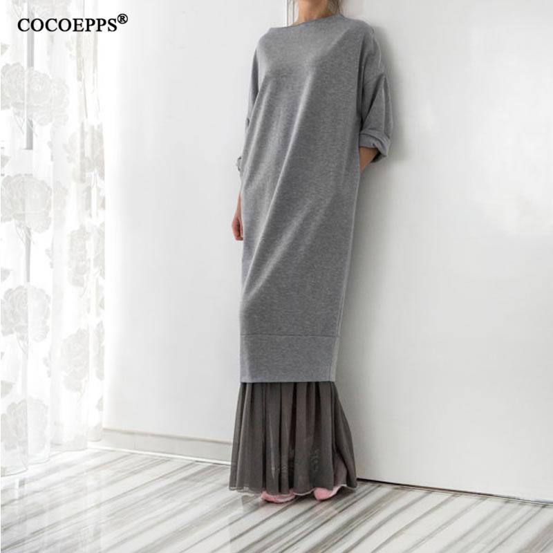 Long Pocket Women Free dresses Loose oversized chiffon large Size Dress 2018 Spring Elegant Vintage Maxi Hoody Sweatshirt Dress