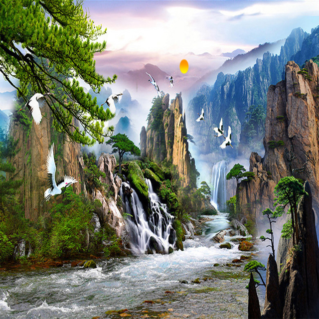 Custom Wall Mural Wallpaper Mountain Water Sunrise ...