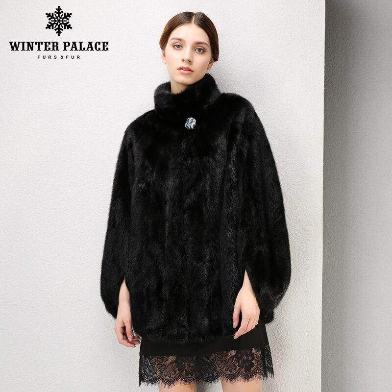 Nouveau style dames de mode vison manteaux femmes, Col Mandarin, réel de fourrure, En Cuir Véritable, fourrure de vison noir, manteau de vison, vison Noir