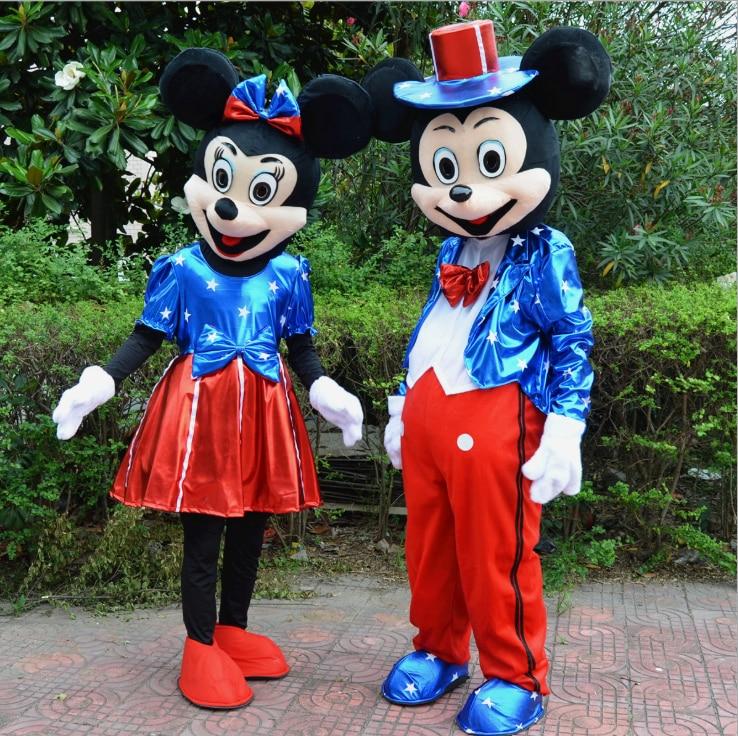 Nouveau Minnie Mickey mascotte Costume mascotte personnage de dessin animé costume fantaisie robe de soirée Cosplay tenues adulte Costume de fête de noël
