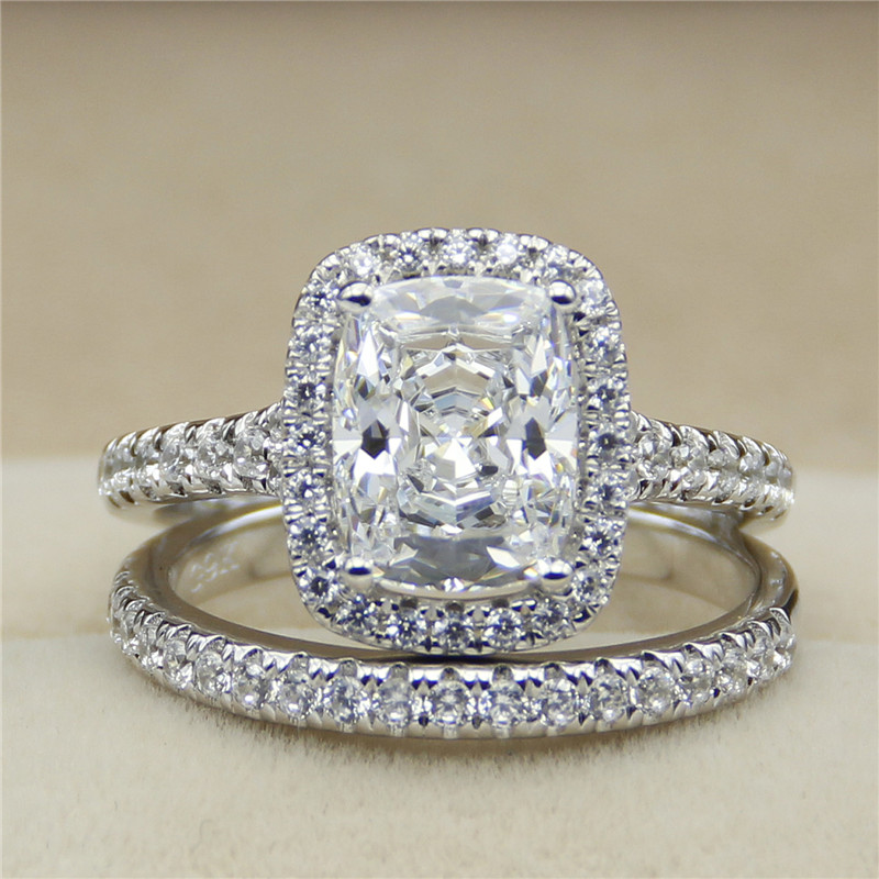 2CT Radiant Cut ASCD Simulated Diamond 9K White Gold Halo Accents Eternity Band Engagement Ring Bridal Set
