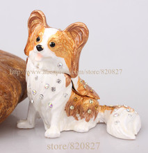 Купить с кэшбэком Papillon Dog Metal Jewelry Box Trained Cute Puppy Enameled Piece Animal Papillon Golden & White Dog Bejeweled Trinket Box