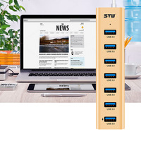 הכי חדש STW-7337 נייד רכזת USB 3.0 7 יציאות סופר מהירות סגסוגת אלומיניום זהב/כסף