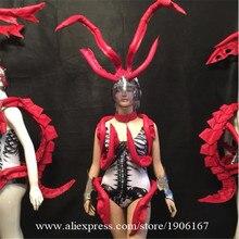 Музыкальный фестиваль красный Киль Костюмы и реквизит Костюмы Авто ТВ показать одежду модель дефиле Ds сексуальный костюм леди Вечеринка платье