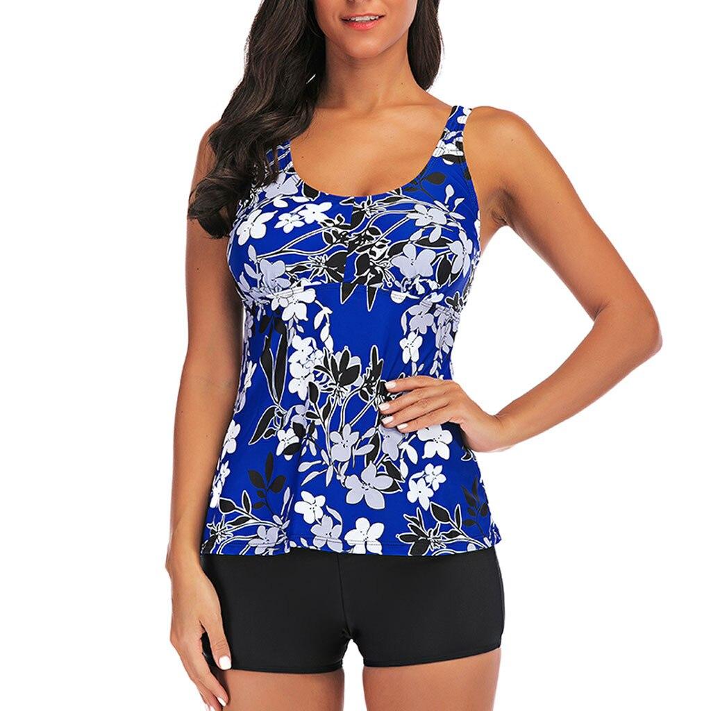 Women Plus Size Print Floral Blue Tankini Two Pieces Swimsuit Straps Beachwear Padded Swimwear Summer Female Beach Dress Biquini