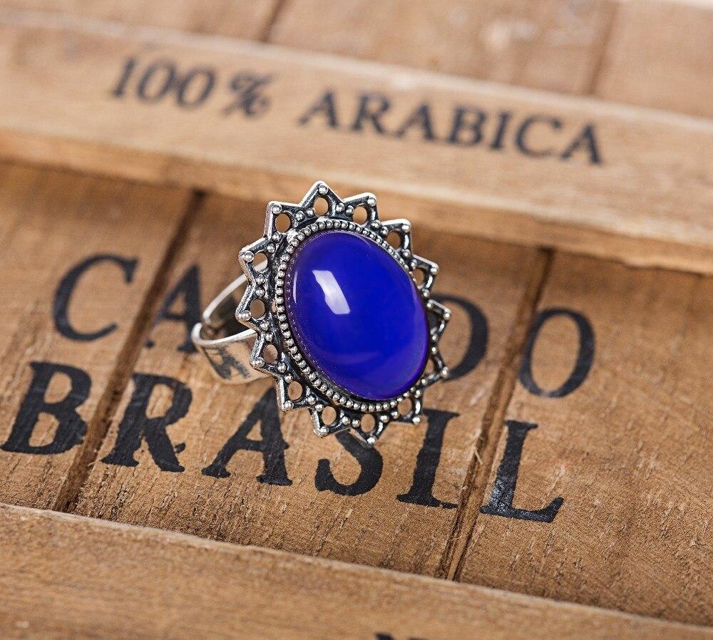 Mood Ring Veranderende Kleur Voor Volwassenen Antieke Sterling Silver Alloy Vintage Verklaring Rings Vrouwen
