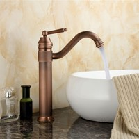 Europe Classic Style Bathroom Basin Faucet Antique Copper Finish Mixer Tap With Ceramic Mixer Tap Sink