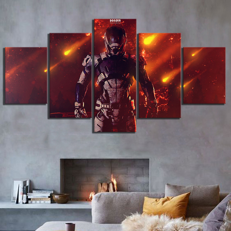 5 Piece Canvas Paintings Mass Effect Andromeda RPG Game Poster Fantasy Wall Art for Home Decor image