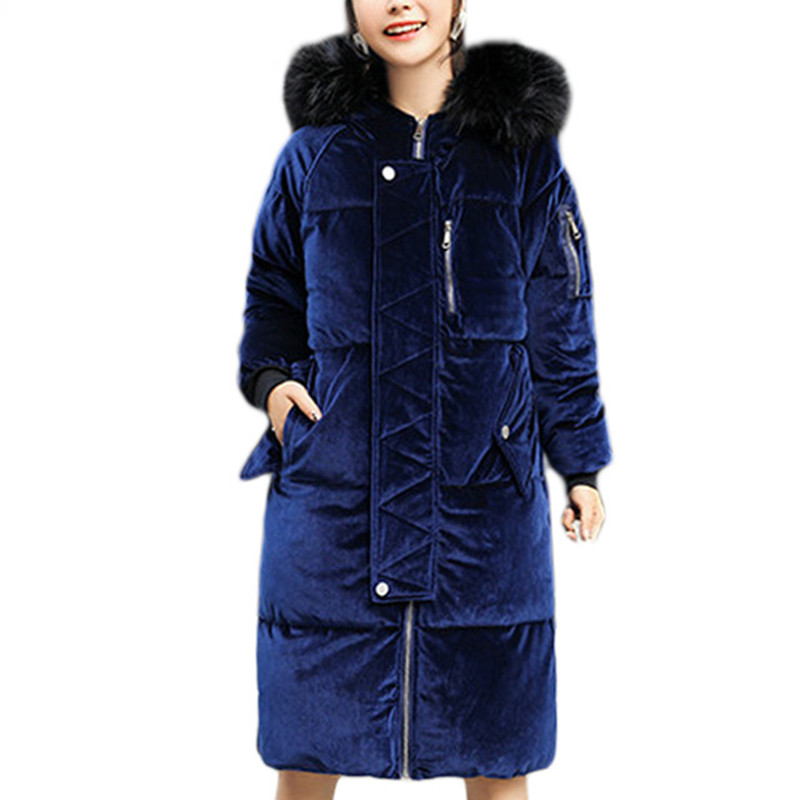 2017 Winter Velvet Parkas Jacket Coat Women Faux Fur Collar Hooded Down Cotton Outwear Female Thick Warm Long Zipper Overcoat women winter coat leisure big yards hooded fur collar jacket thick warm cotton parkas new style female students overcoat ok238