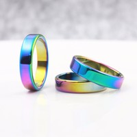 Fashion Jewelry Grade A Quality 5 Mm Width Faceted Hematite Rings Rainbow 50 Pieces Mixed Sizes