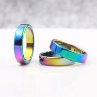 AAA Qualidade 6mm de Largura Plana Anéis Hematita Rainbow Color (50 Peças tamanhos Mistos) HR1004-1