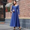 Women Long Sleeve Maxi Dresses 2017 Spring New Plus Size S-XXXL Lace Patchwork Blue Long Dress Vestidos Longo RS667