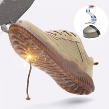 Labor insurance shoes pigskin steel head anti-smashing stab-