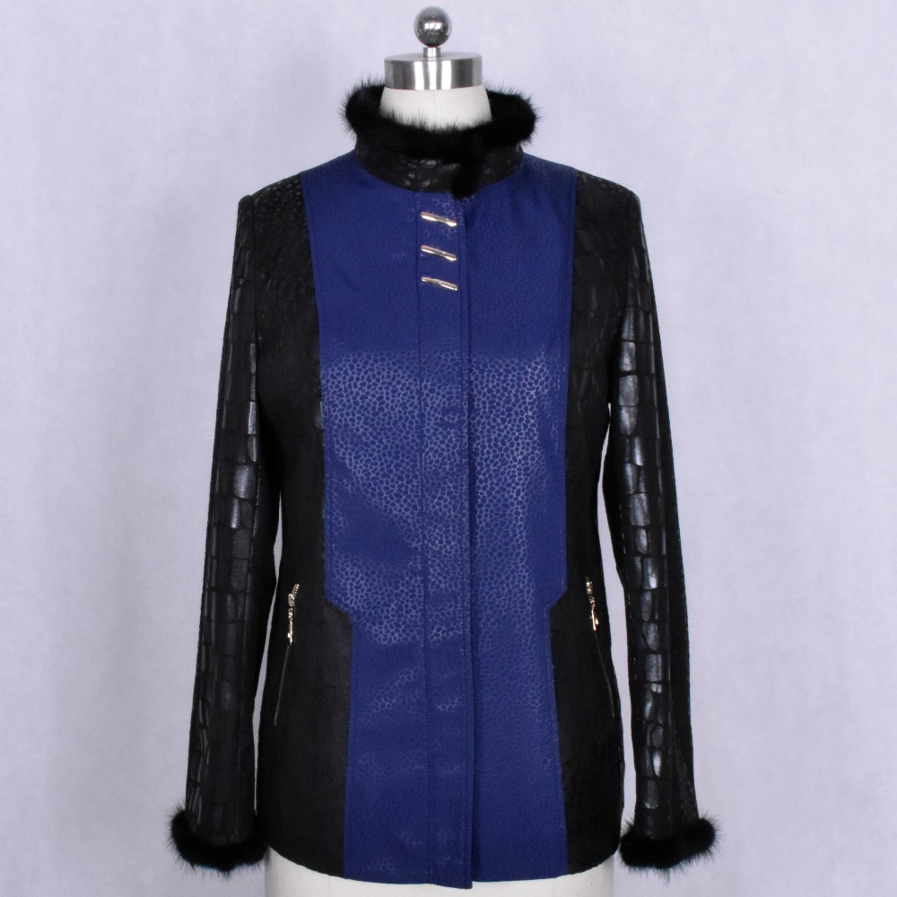 100 real natural Genuine Leather Mink fur Spliced autumn Clothing Wholesale factory direct supplier women s