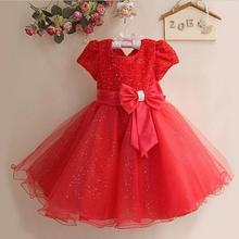 2017 Summer Baby Girls Dress Sequins Fashion Princess Dress Girl Clothes Sleeveless Lace Party Dress O-neck Bow Costume For Kids