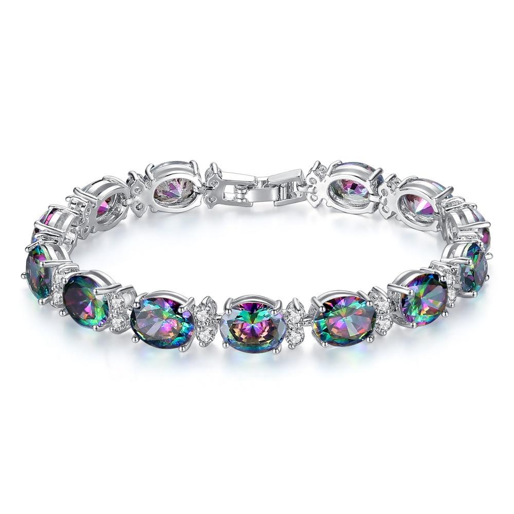 New oval colorful bright cubic zircon bracelets for women luxury bracelet hand jewelry purple/blue zircon