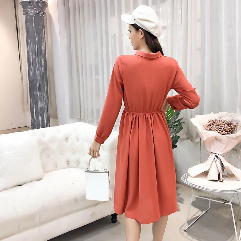 fashion bow collar women dresses party night club dress 2019 new spring long sleeve solid chiffon dress women clothing B101 4