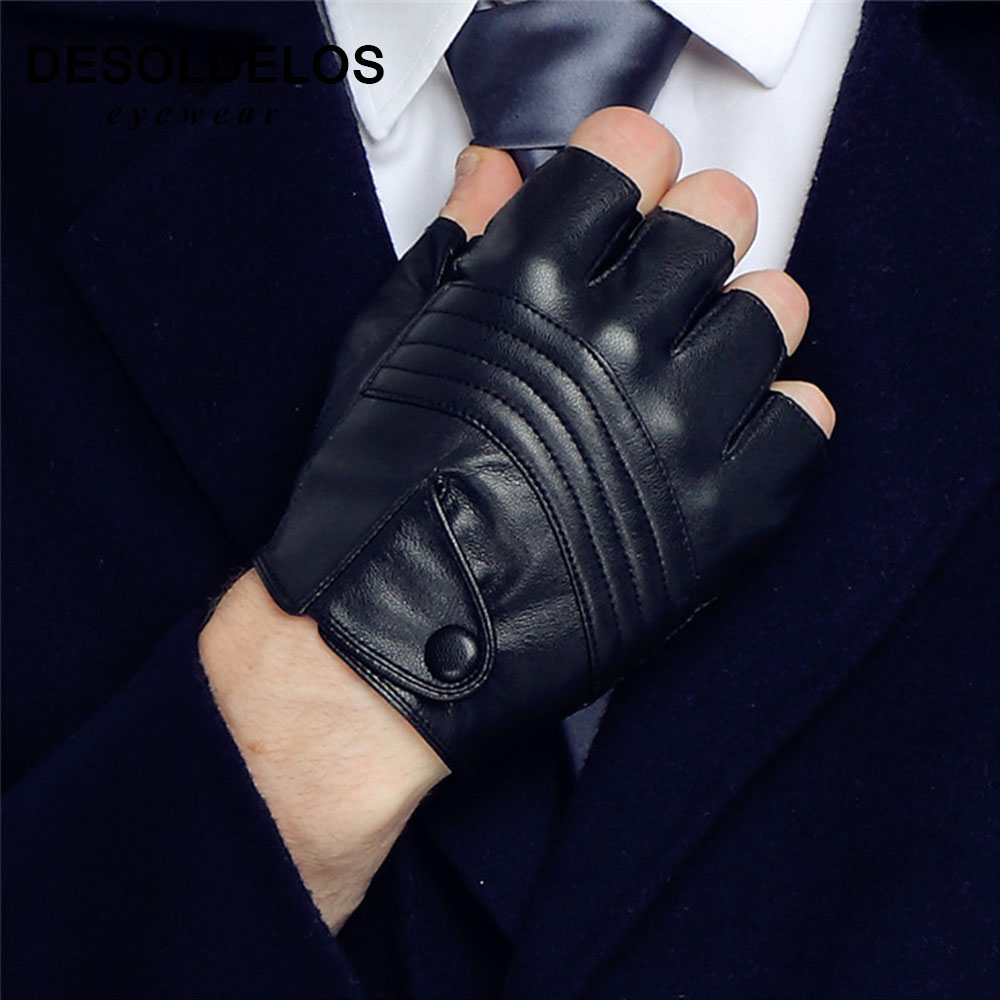 Fahion 1Pair Half Finger Driving Women Fashion Gloves Pu Leather Fingerless Gloves Black Womens Hand Mittens Luvas R004
