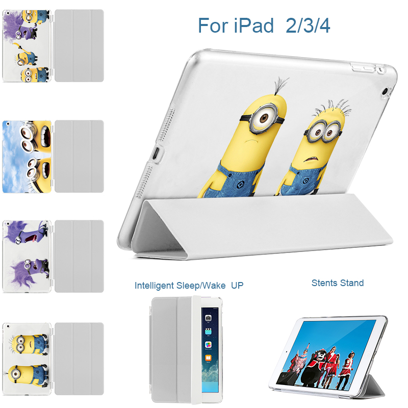 MTT For iPad Pro 9.7 Case,For iPad 2 3 4 Cover, PU Leather slim Smart Cover + 3D Printed Fear Minions Hard Back Case