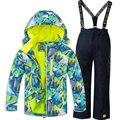 Детский лыжный костюм для мальчиков и девочек, лыжная куртка с комбинезоном, комплект из 2 предметов, водонепроницаемая плотная уличная оде...