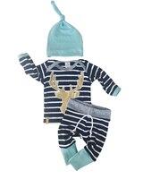 Newborn Baby Boy Girl Long Sleeve Tops Long Pants Hat 3PCS Outfits Set Clothe
