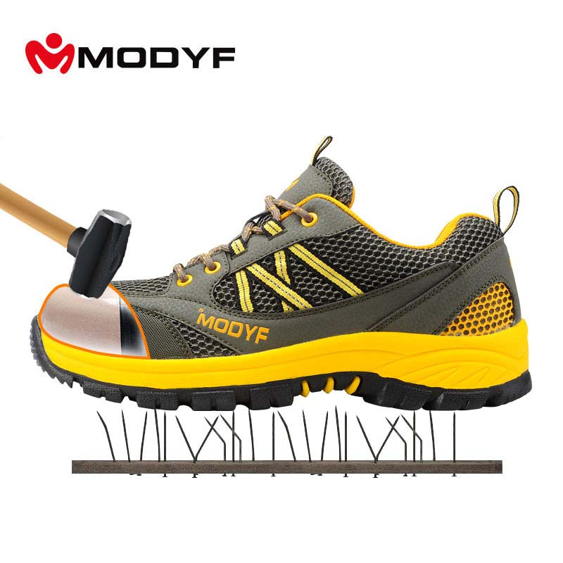 Modyf men steel toe cap work safety shoes casual mesh breathable outdoor boots puncture proof protection footwear leather men steel toe cap work safety shoes anti smashing slip resistant breathable winter boots