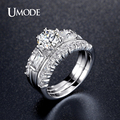 UMODE Wedding Ring Sets 2pcs Rings Design Simulated bague femme bijoux ring for women Rhodium Plated Jewelry for Women UR0359