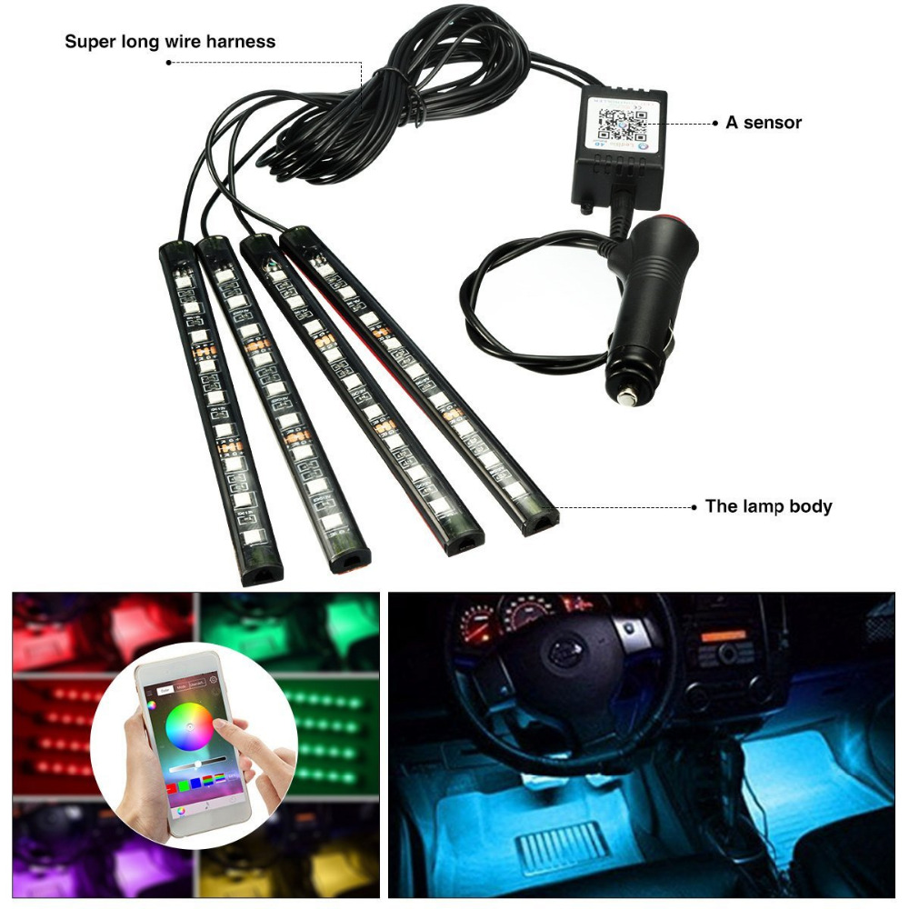 4x Car LED RGB Music Interior Atmosphere Floor Underdash Lighting RGB Music Control Strip Lights Kit Multicolor APP Bluetooth Controller for iPhone Android 7
