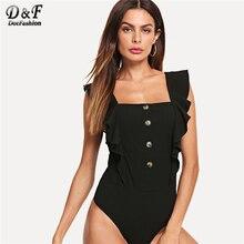 Dotfashion negro botón medio Placket colmena costilla Knit Bodysuit verano  llano elegante cuello cuadrado sin mangas Skinny . c6e09b04893a