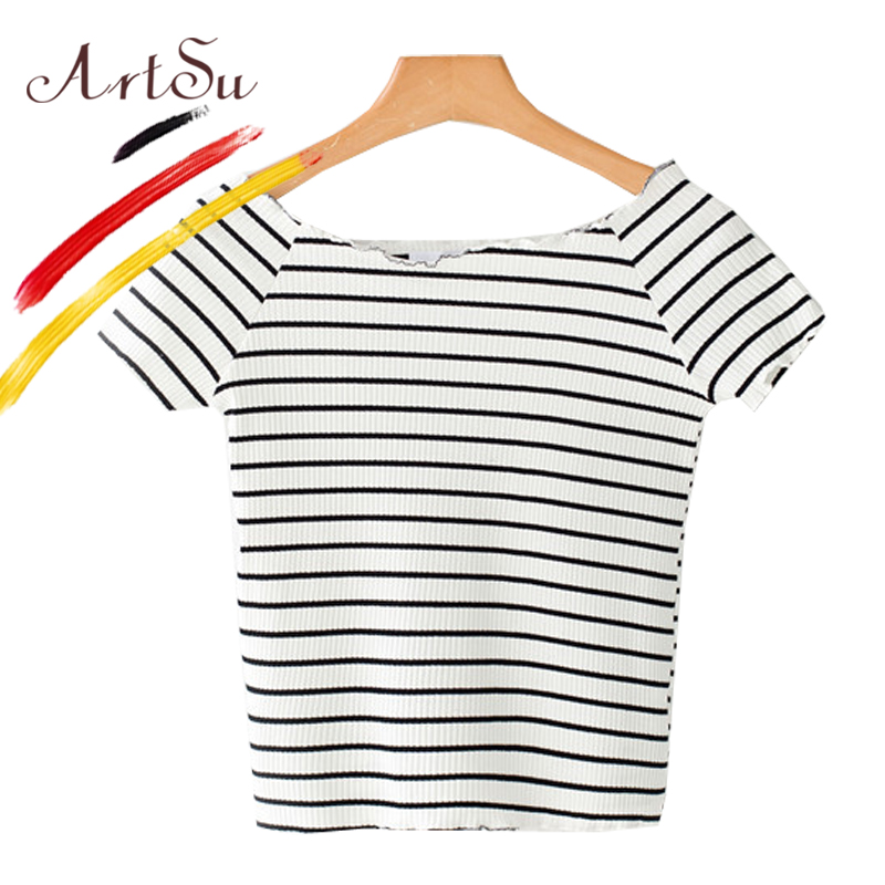 2b07b1bf52d Aliexpress.com : Buy ArtSu Women Short Sleeve Plain T Shirt 2018 Summer New  Girl's Knitted Crop Top Short Tees Striped Shirt Casual Femme Top 9 Color  from ...